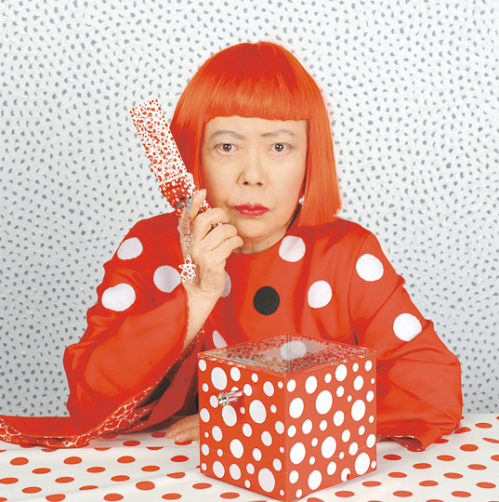 yayoi kusama with her 'dots obsession' limited edition cell phone